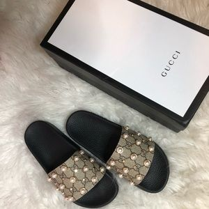 267024314 Gucci Shoes | Pearl Slides Size 7 | Poshmark